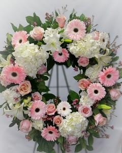 Elegant Pink Garden Wreath Sympathy Wreath in Chatham, NJ | SUNNYWOODS FLORIST