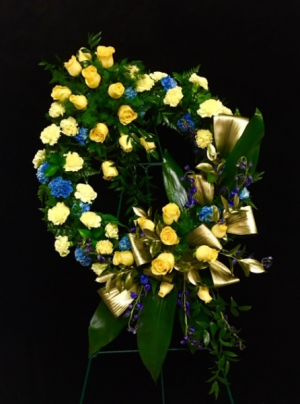 Heaven's Gates Yellow and Blue Design With Golden Leaves in Plainview, TX | Kan Del's Floral, Candles & Gifts