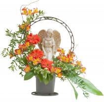 Heaven's Sunset Angel Basket Arrangement