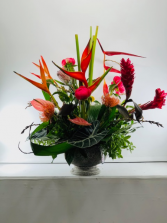 Heliconia and Ginger Container Arrangement
