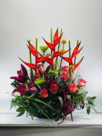 Heliconia and Roses  Container Arrangement