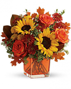 Hello Autumn! Cube Arrangement in Warrington, PA | ANGEL ROSE FLORIST INC.