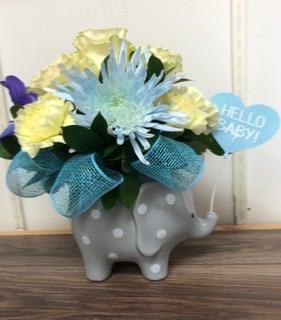 Hello Baby Boy Ceramic elephant arrangement