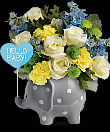 Hello Baby Boy Elephant keepsake Container
