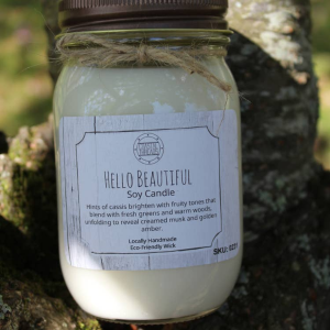 Hello Beautiful Candle in Chatham, NJ | SUNNYWOODS FLORIST