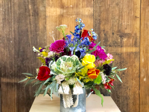 Hello Darlin' Metal Container Arrangement in Huntington, TX | LIZA'S GARDEN