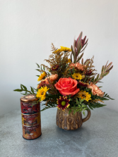 Hello Fall Mug + Tea Sampler Floral Gift Combo