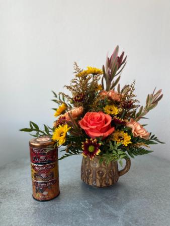 Hello Fall Mug + Tea Sampler Floral Gift Combo