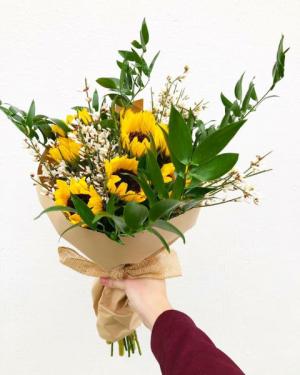 Hello Sunshine Flower Wrap  in Huntington, TX   LIZA'S GARDEN