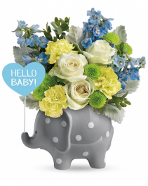 Hello Sweet Baby - Blue Flower Arrangement