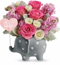 Hello Sweet Baby - Pink floral arrangement