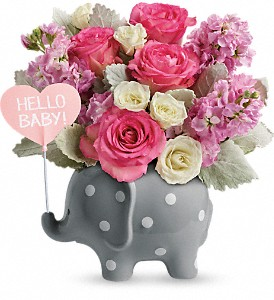 Hello Sweet Baby - Pink floral arrangement
