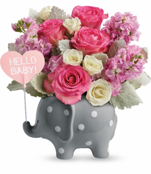 Hello Sweet Baby - Pink Fresh Arrangement in Rossville, GA | Ensign The Florist
