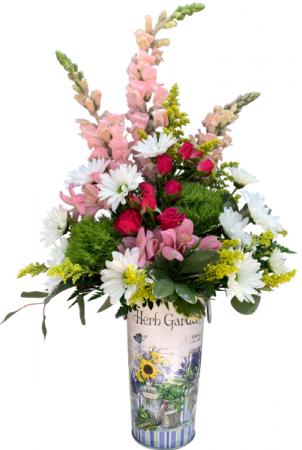 Herb Garden Metal Vase Arrangement