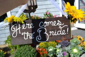 here comes the Bride wedding in Byfield, MA | Anastasia's Flowers on Main