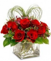 Here's My Heart 1 dz Red roses with a heart shaped from bear grass