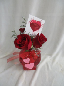 Here's My Heart 3 Red Roses in a Budvase