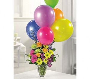 Here's The Party EV83-11 Fresh Vased Arrangement w/balloons in Farmville, VA | CARTERS FLOWER SHOP