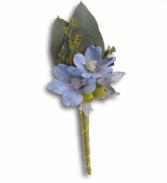 Hero's Blue Boutonniere Fresh Arrangement