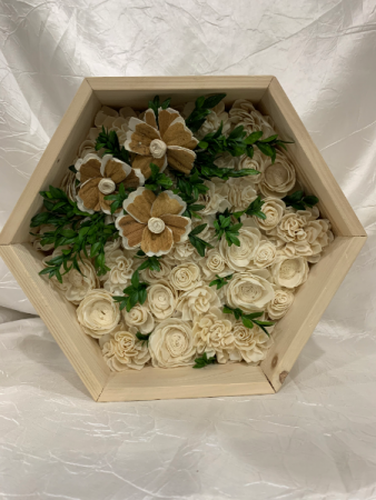Hexagon Box with Wood Flowers