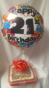"""NO 30 HOUR NOTICE! CAN BE DELIVERED SAME DAY IF  YOU HAVE YOUR ORDER IN BY 11:00 A.M. SAME DAY. 9"""" SQUARE CHOCOLATE CHIP COOKIE WITH ICING AND SPRINKLES . CAN WRITE AN AGE  FOR A BIRTHDAY.  Comes with a cute carrying case to be reused. A balloon is included! Can be a plain happy birthday or get well, etc."""