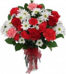 LIVE-LAUGH-LOVE! Vase of Red Roses, white daisies, pink and red carnations all arranged with red ribbon.