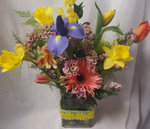 """SPRING Garden"" Mixed Spring flowers in season Bright colors arranged in cute ribbon detail on vase."