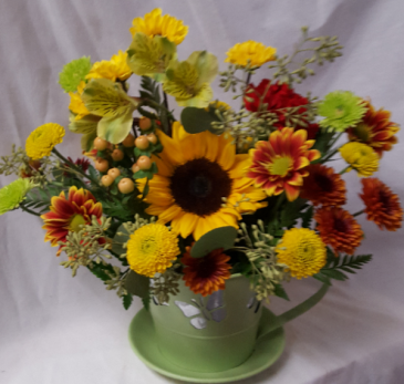 """NEW Butterfly Tin Teacup Arrangement"" fall season Mixed bright flowers(tin tea  cup colors may vary)"