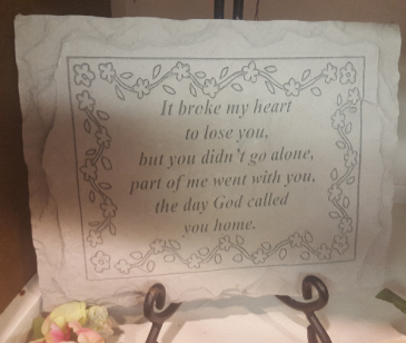 """CEMENT GARDEN STONE OR HAS A PLACE ON BACK  TO HANG. SELECT 24.95 PRICE FOR STONE ONLY. 31.00 INCLUDES EASEL. COMES WITH A BOW.( MEASURES 10.5"""" X 8"""")"""