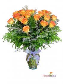 High Magic Roses Bouquet Yellow & Orange Bicolor Arrangement