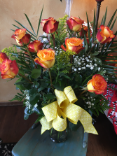 High N Magic Roses Dz. Yellow Roses with red tips