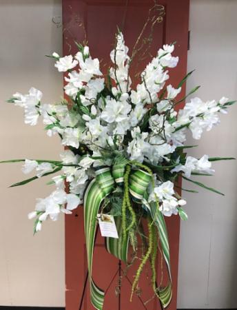 High Style White Gladiola Botanical Silk Standing Spray