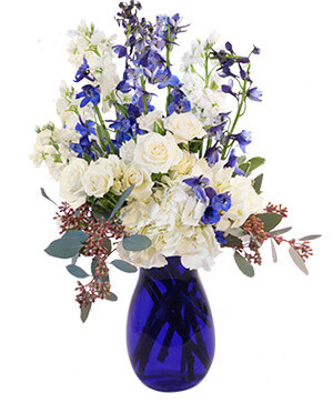 Hints of Sapphire Flower Arrangement in Mobile, AL | ZIMLICH THE FLORIST
