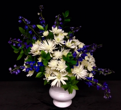 His Love Blue Delphiniums and White Spiders