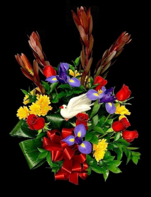 His Strength Spring Hat Basket Floral Arrangement in Plainview, TX | Kan Del's Floral, Candles & Gifts