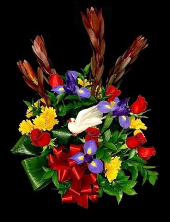 His Strength Spring Hat Basket Floral Arrangement