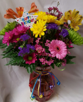 Birthday Celebration Bouquet...bright flowers arra In case with Happy Birthday Pic.