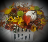 """""""FALL PICKET FENCE ARRANGEMENT"""" cute keepsake wood container filled with fall poms and daisies and pumpkin. Cute table arrangement and after flowers are gone you could put a 4"""" plant in this. Has liner."""