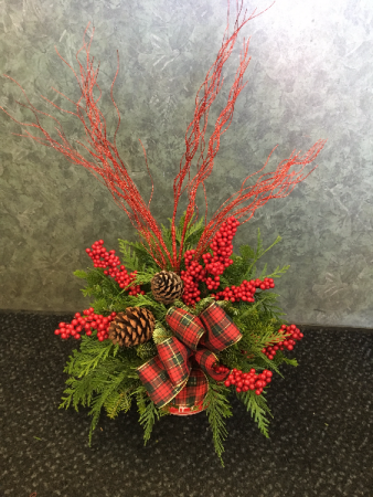 Ho-Ho-Holiday Cheer Evergreen Arrangement