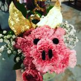 Hogs and Kisses Carnations and Mixed Floral