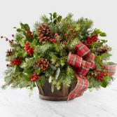 Holiday Basket Basket Arrangement of Christmas Greens