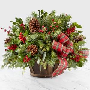 Holiday Basket Basket Arrangement of Christmas Greens