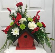 Holiday Birdhouse Winter Arrangement