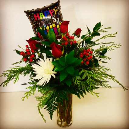 Holiday Birthday Celebration Red Roses With Mix Christmas Greenery And Coffee Beens