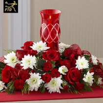Holiday Blessings Seasonal Centerpiece with Hurricane