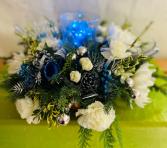 Holiday Blue Christmas Centerpiece Christmas Centerpiece