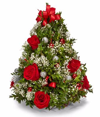 Holiday Boxwood Tree Centerpiece