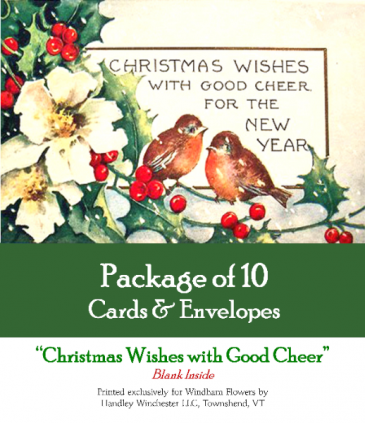 """Holiday Card Set Pack of 10 Cards """"Christmas Wishes with Good Cheer""""  Blank Inside"""