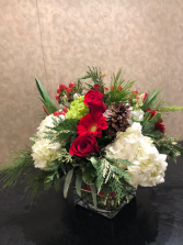 Holiday Celebration square vase arrangement