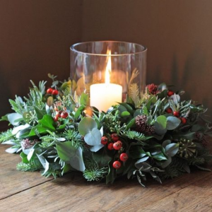 Holiday Center Pieces with Candles  in Oakville, ON | ANN'S FLOWER BOUTIQUE-Wedding & Event Florist